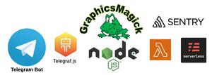 Telegram bot technology choice - AWS Lambda, Node.js, Telegraf.js, GraphicsMagic, Serverless